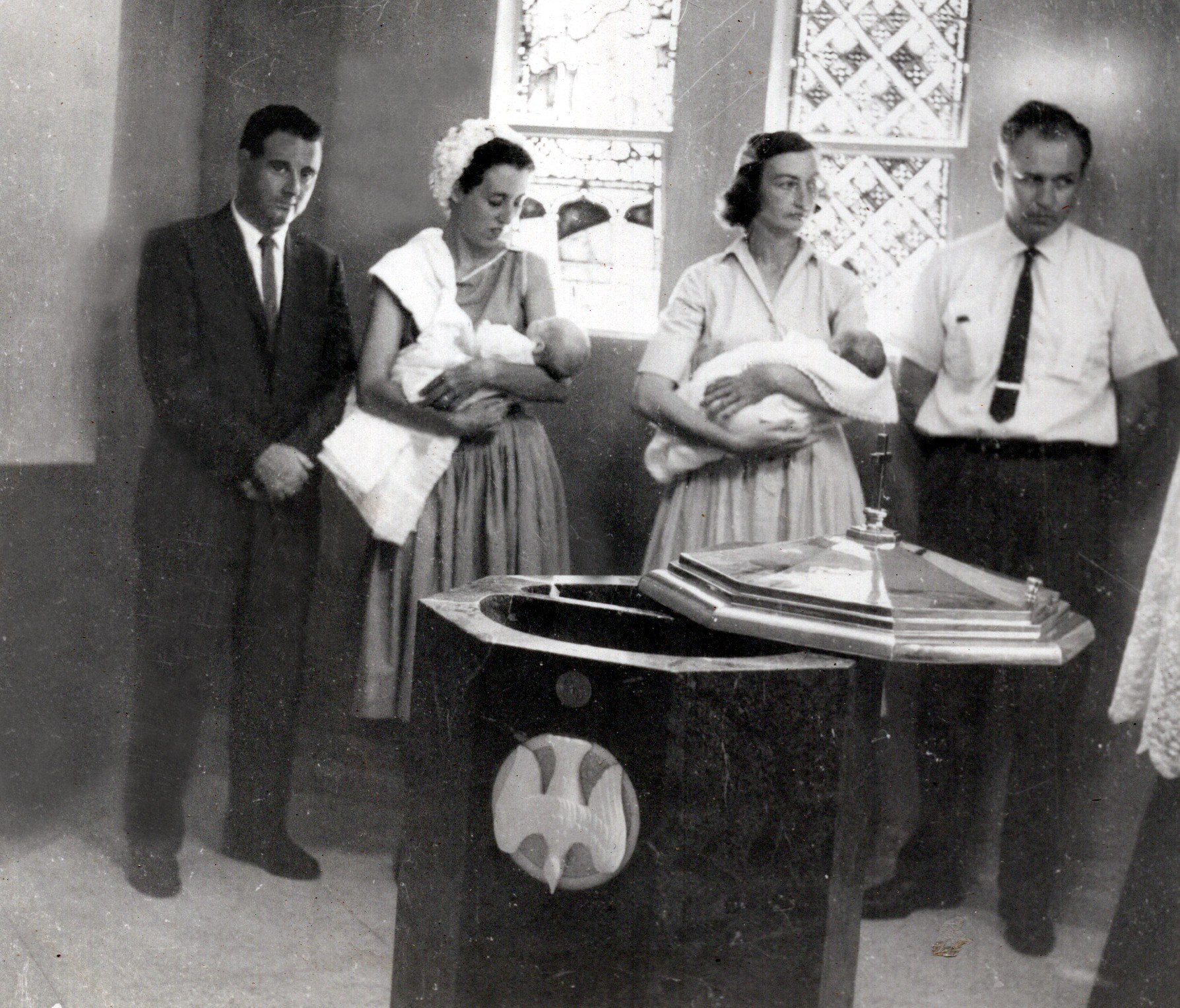Terry's Baptism - Uncle Terry, Dorothy & Terry - Oct 1959