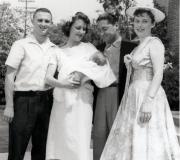 Mark's Baptism - Dad, Sue, Mark, Bill & Mom - May 1957