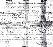 Harold Phillips Schooling Certificate 03-12-1908