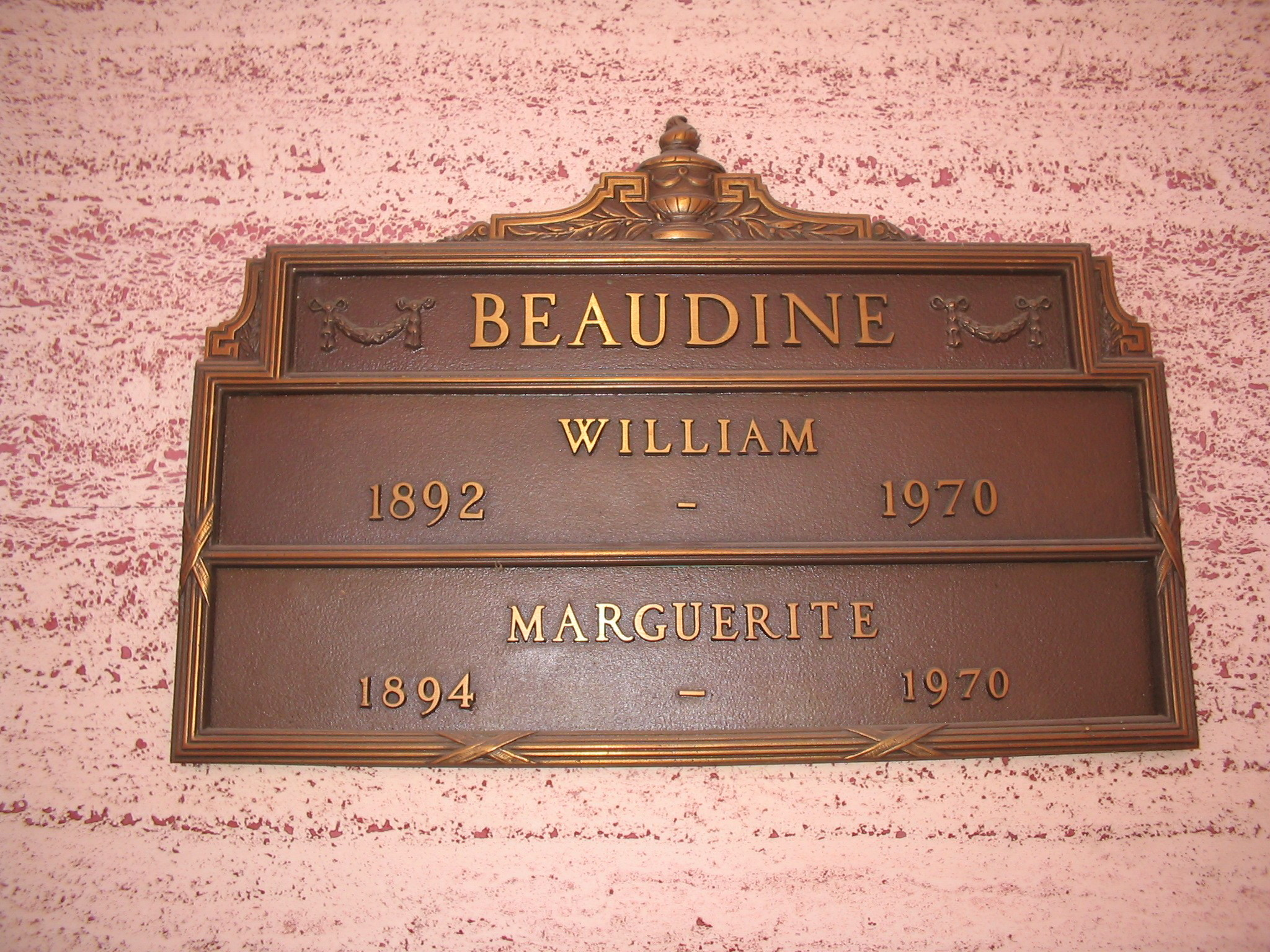 Bill & Marguerite Beaudine Burial plate at Hollywood Forever