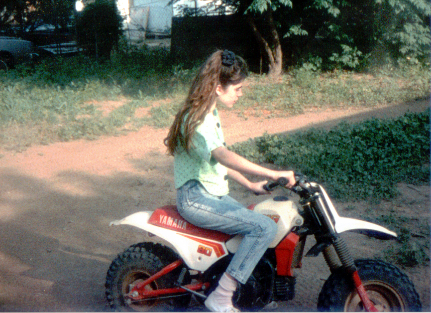 Tara on Mini Bike