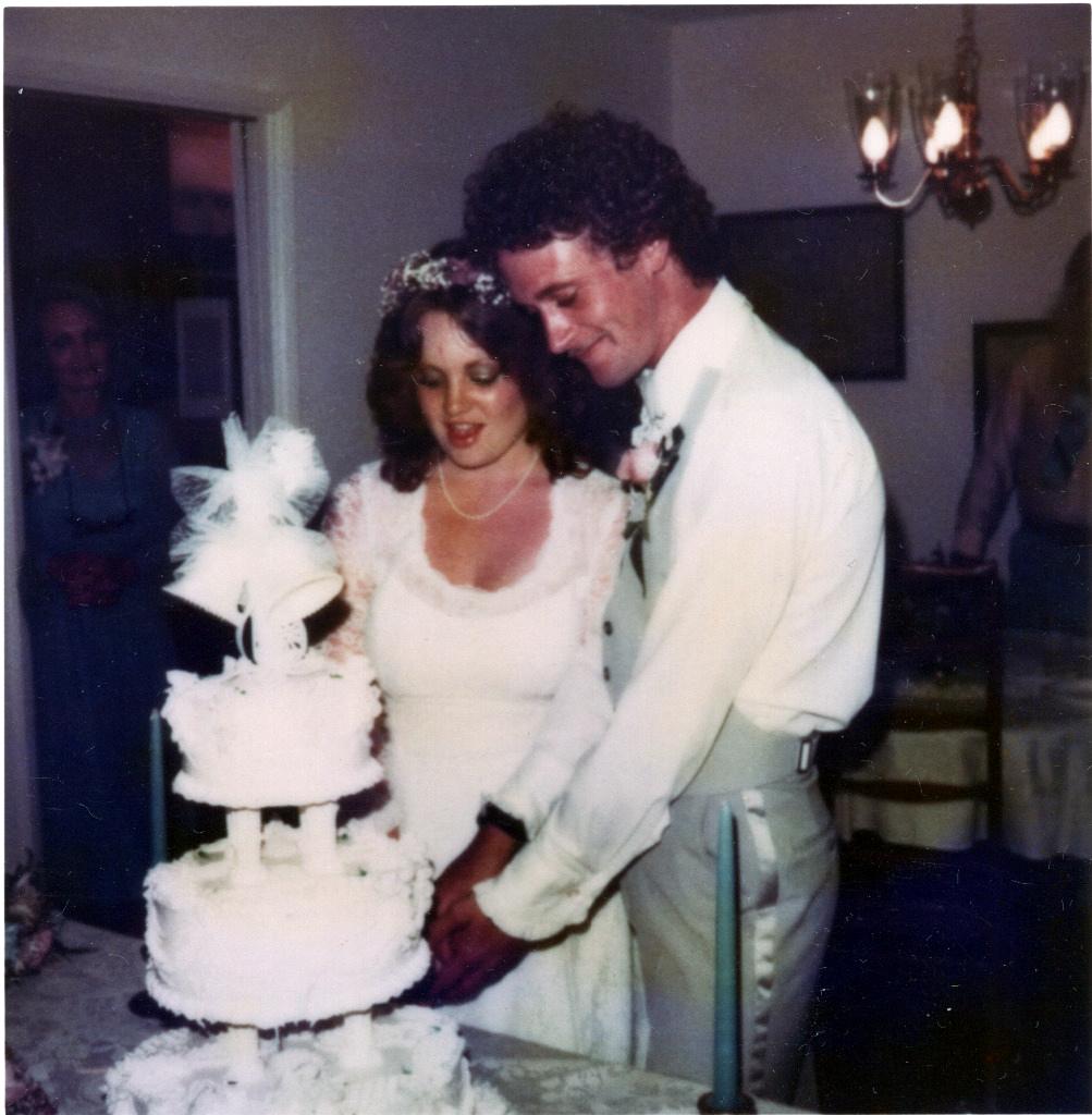 Mark & Mandy Cutting Wedding Cake