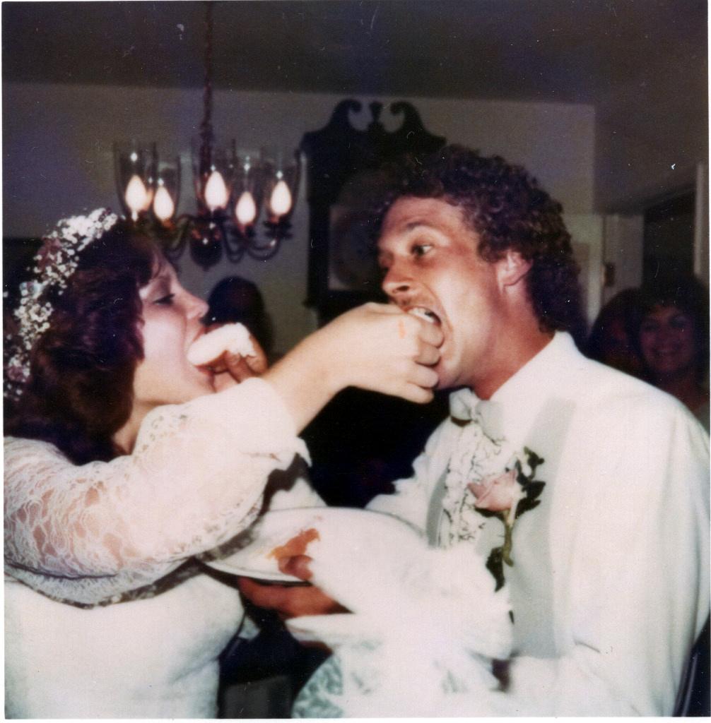 Mark & Mandy Eating Wedding Cake