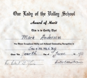 Mark Swimming Award 1970
