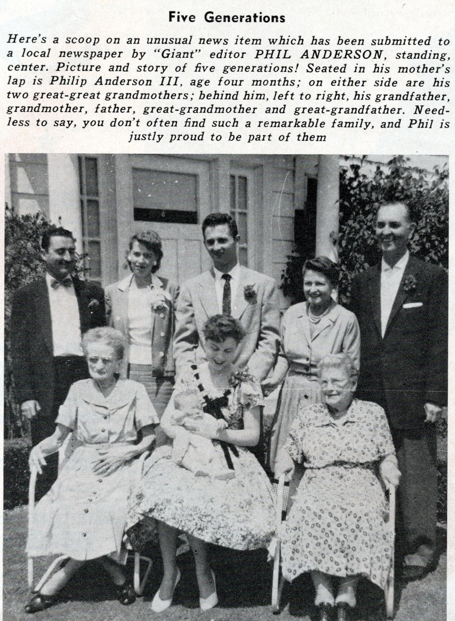 5 Generations - Warner Club News - 1956