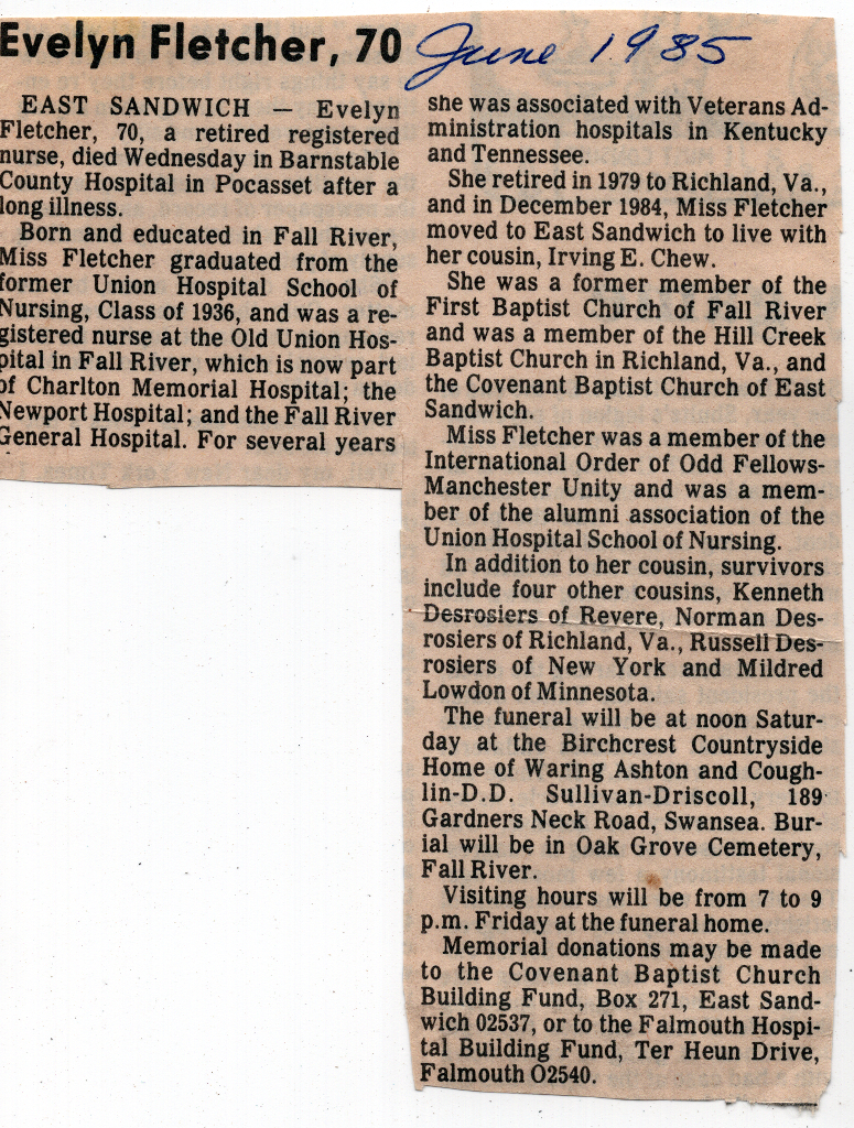 Evelyn Fletcher Obituary