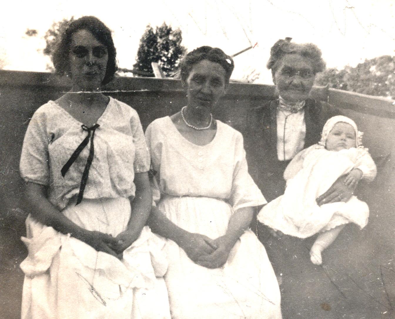 Four Generations - Viola, Jennie, Catherine (Viola's Grandma) & Shirley - 1920
