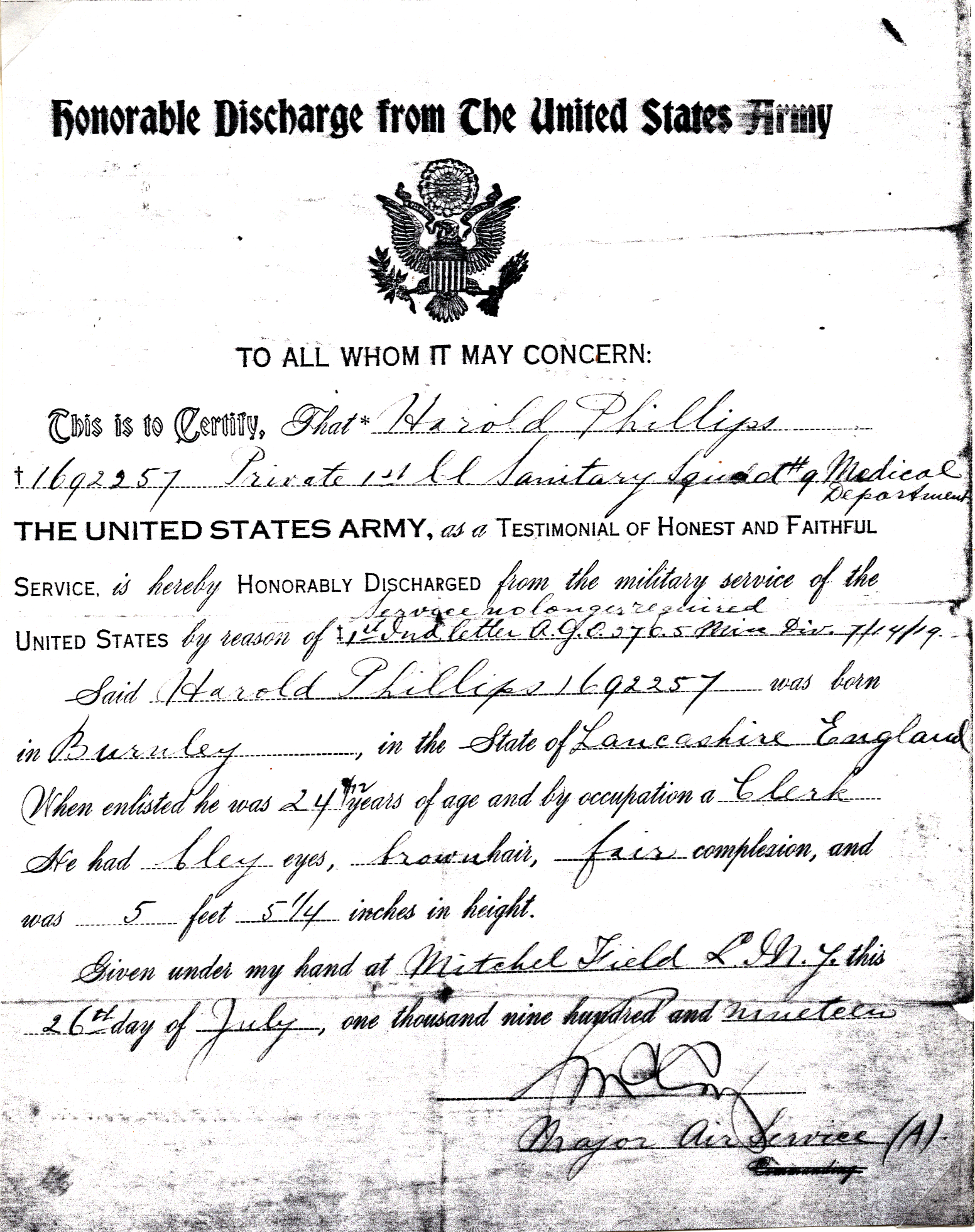 Harold Phillips US Army Discharge Papers 07-26-1919