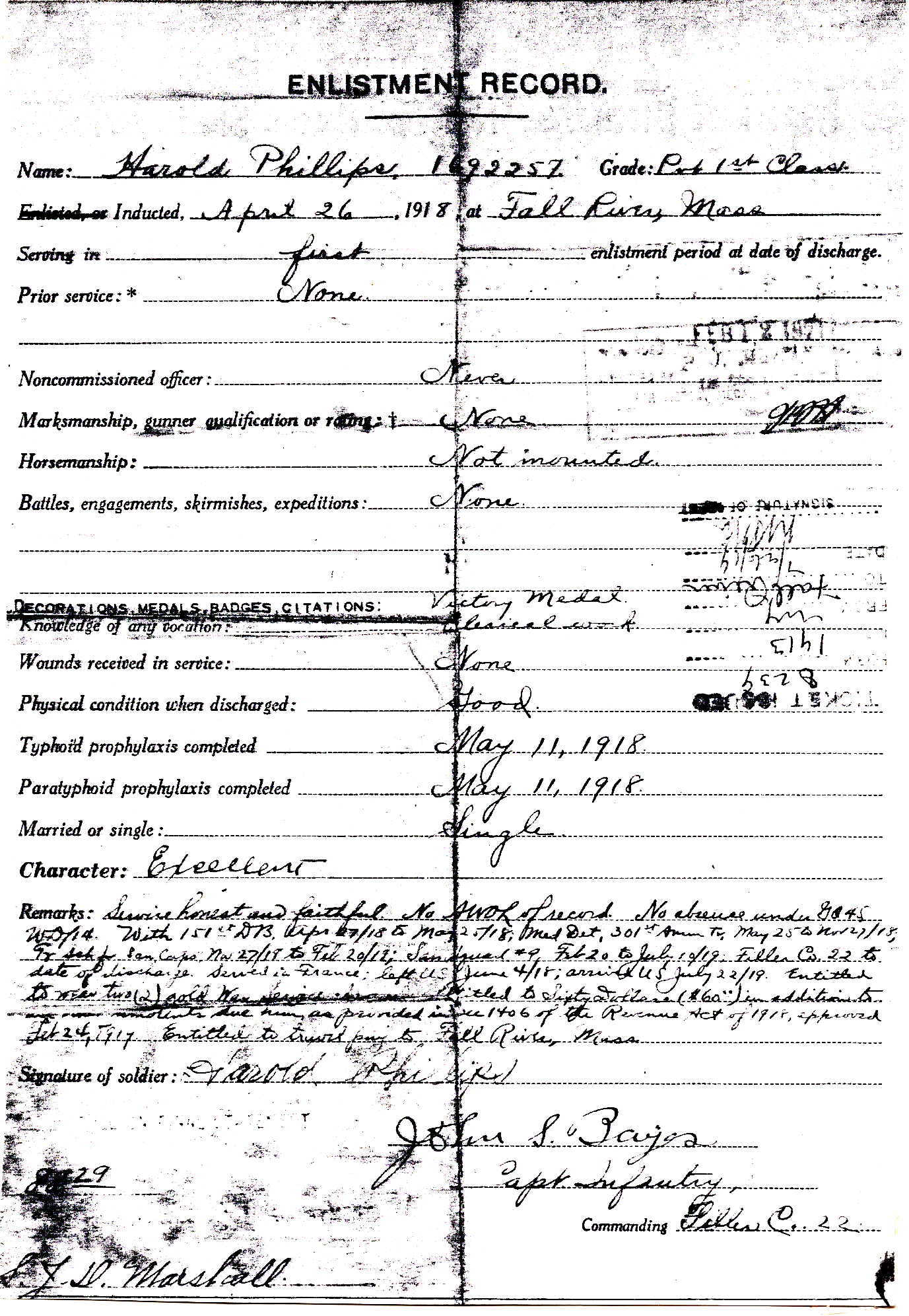 Harold Phillips US Army Enlistment 04-26-1918