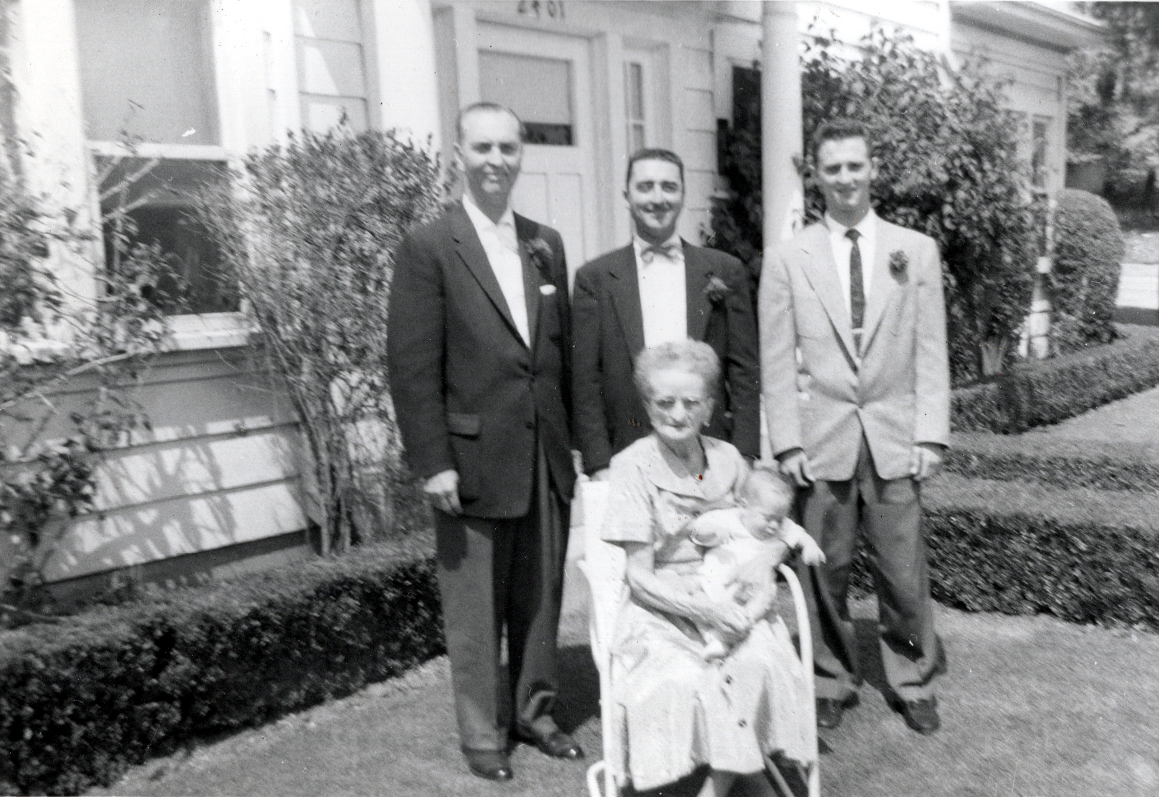 5 Generations - Buddy with Dad, Grandfather, Great Grandfather & Great Great Grandmother