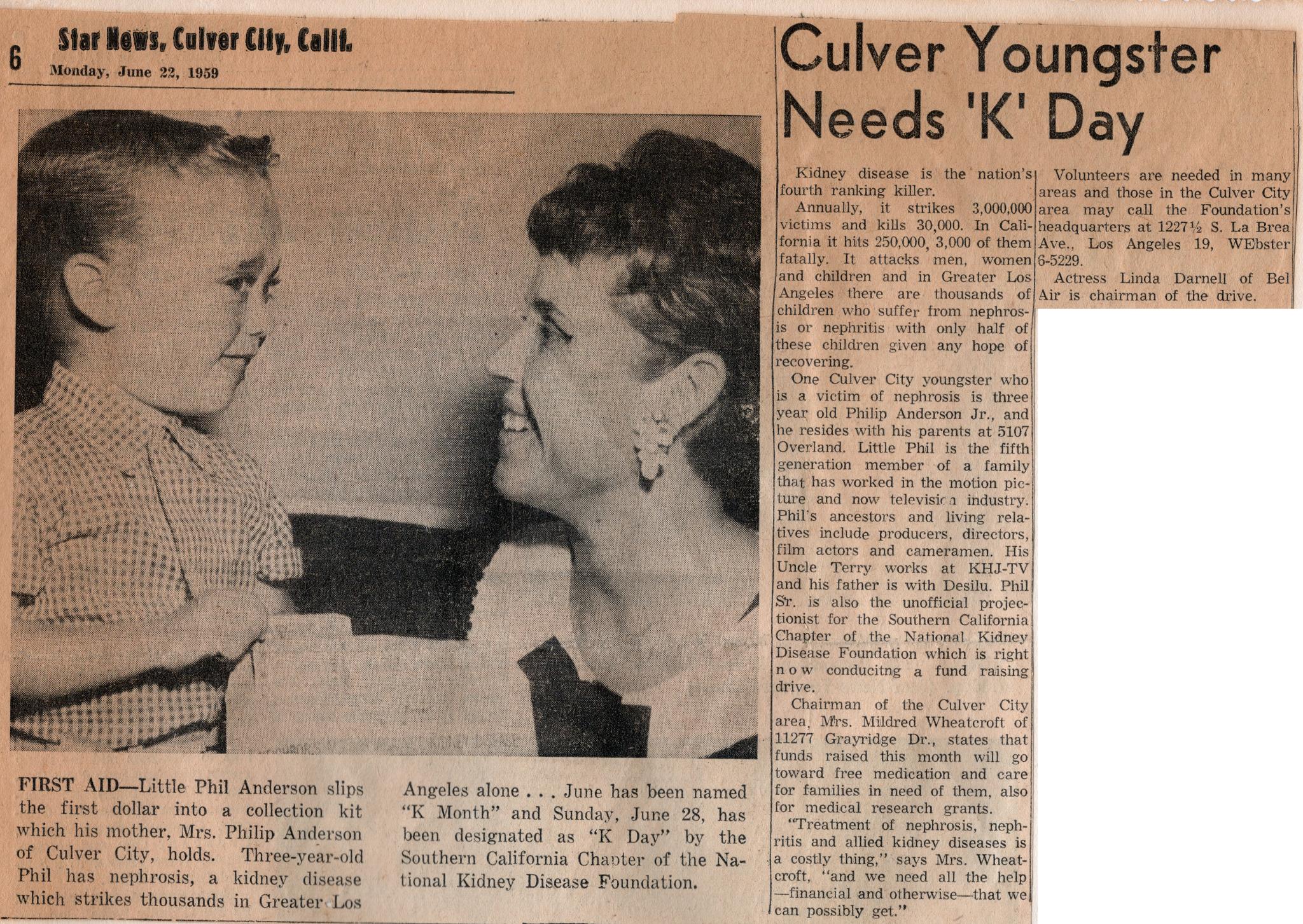 Buddy Kidney Disease Foundation - 1959