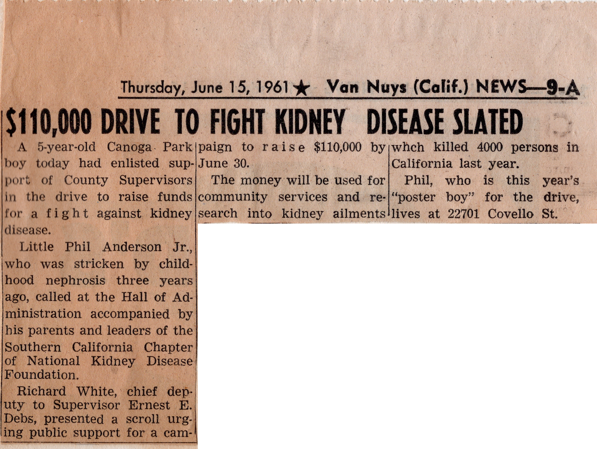 Buddy Kidney Support Drive - 1961