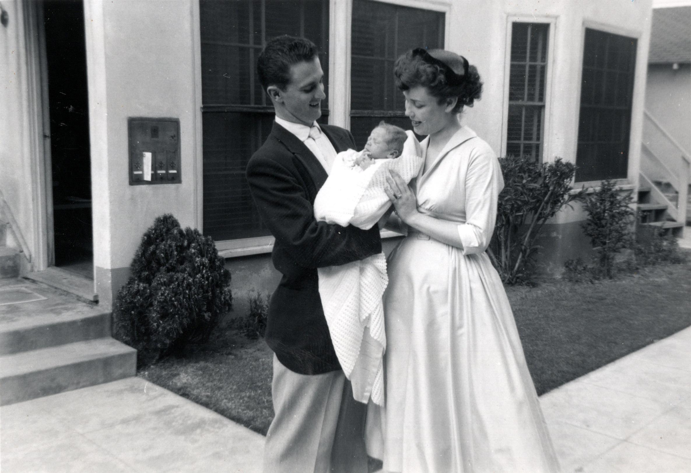 Buddy's Baptism - Dad, Buddy & Mom - March 1956