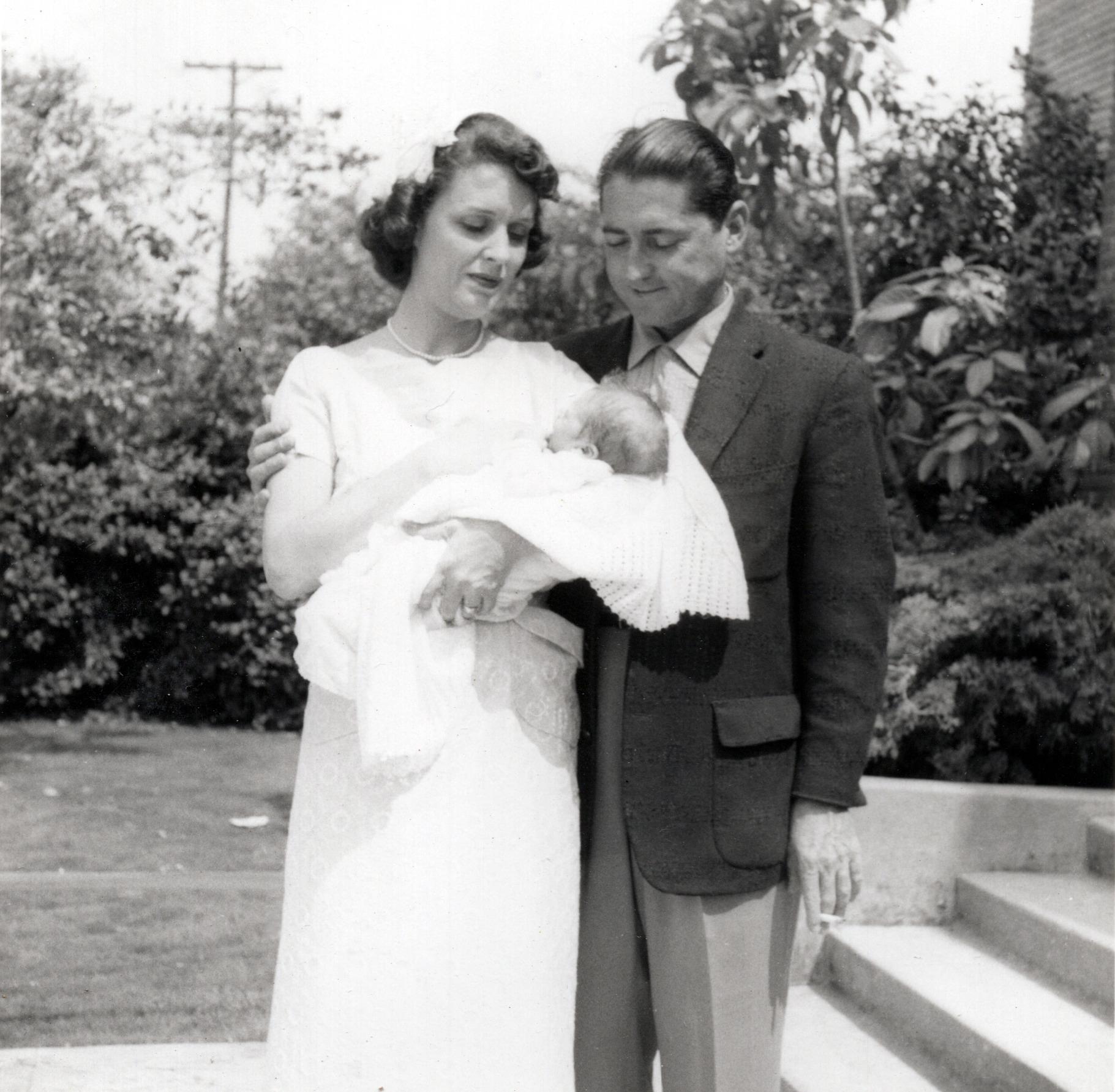 Mark's Baptism - Sue, Mark & Bill - May 1957